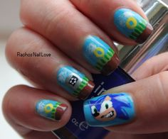Sonic video game nail art