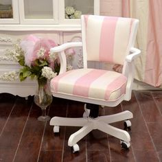 Stunning Microsuede Pink and White Office Chair $595.00 #thebellacottage #shabbychic #vintage #handmade