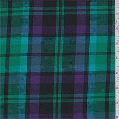Aqua blue, spring green, purple and black tartanplaid, This light/medium weight cotton fabric has a soft hand.Compare to $10.00/yd