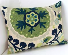 Suzani Pillow Cover 12x16 Inch Blue Green Decorative Pillow Accent Cushion Throw Pillow. $20.00, via Etsy.