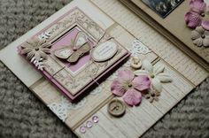 Beautiful mini by Patmiaou Scrapbooking Mini Album, Mini Scrapbook Albums, Baby Scrapbook, Notebook Cover Design, Cute Scrapbooks, Minis, Diy And Crafts, Paper Crafts, Scrapbook Embellishments