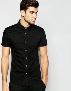 ASOS+Skinny+Shirt+In+Short+Sleeve+With+Black+Overdye
