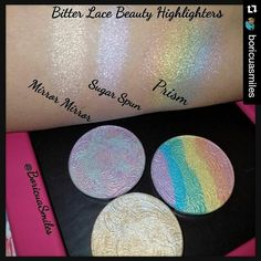 These swatches are beautiful @boricuasmiles always kills it!!! The cat is out of the bag! Sugar Spun smells like delicious cotton candy! I hope you guys are even more excited now  #Repost @boricuasmiles with @repostapp ・・・ So HAPPY I got to pick these beauties up today from @bitter.lace.beauty ! You always out do yourself. BTW if anyone is picking up Sugar Spun, it smells like delicious cotton candy  So Pretty  04/15/16 #bitterlacebeauty #highlighter #highlighters #boricuasm...