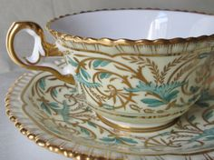 Vintage Hand Painted Spode Copeland China Reproduction of a 1815 Spode Pattern Tea Cup and Saucer. SHIPS INTERNATIONALLY