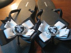 Oakland Raiders Inspired Flip Flops