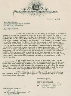 MGM contract signed by Lana Turner