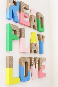 How to Make Colorful Wall Letters - These are so easy and inexpensive! How to Make Colorful Wall Letters - Skip the expensive ones at the store! It's so easy and inexpensive to make your own wall letters! Playroom Wall Decor, Playroom Organization, Playroom Design, Playroom Ideas, Colorful Playroom, Kids Room Design, Easy Wall Decor, School Wall Decoration, Ikea Playroom