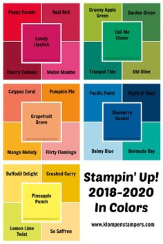 Color Comparison for Stampin' Up!s new 2018-2020 In Colors. Shared by Jackie Bolhuis, Klompenstampers #klompenstampers #jackiebolhuis #incolors