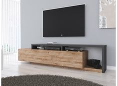 TV unit Bello - Oak - Anthracite - 219 cm - TV furniture - Cabinets and display cabinets - Living room - TV Furniture Living Room Tv Unit, Living Room Modern, Home Living Room, Living Room Designs, Living Room Decor, Tv Unit Furniture, Living Room Furniture Layout, Furniture Design, Tv Unit Decor