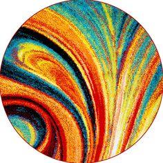 Home Dynamix Area Rugs: Splash Rug: 211-999 Multi-Color: 5' 2'' x 5' 2'' Round