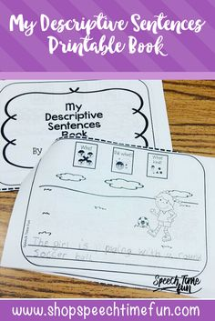My Descriptive Sentences Printable Book - no prep way of building sentence structure and vocabulary in speech therapy