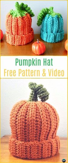 Crochet Pumpkin Hat Free Patterns & Video -Crochet Beanie Hat Free Patterns