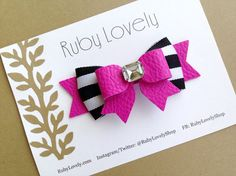 Hey, I found this really awesome Etsy listing at https://www.etsy.com/listing/233880466/pink-leather-bow-headbandhair-clip-black