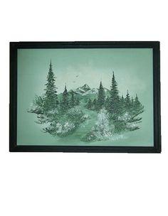 Framed Mountain Scene Oil Painting