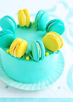 Lemon Blueberry Macaron Delight Cake via Sweetapolita