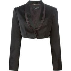 Dolce & Gabbana Vintage Cropped Tuxedo Blazer ($438) found on Polyvore featuring women's fashion, outerwear, jackets, blazers, blazer, black, dolce gabbana blazer, cropped tuxedo blazer, vintage jacket and vintage tuxedo jacket