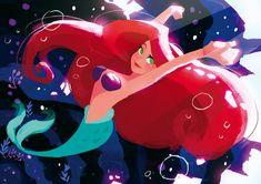 Ariel by はち Princesa Ariel Da Disney, Disney Princess Ariel, Arte Disney, Disney Fan Art, Disney Magic, Princess Luna, Disney Disney, Disney Princesses, Disney Little Mermaids