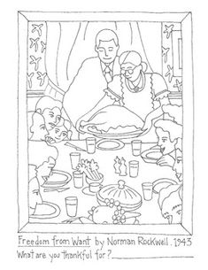 """Original artwork, created by me!%0A%0AAmerican Illustrator, Norman Rockwell's painting """"Freedom from Want"""" is perhaps the most beloved artwork representing Thanksgiving (or any special occasion spent with family) and your students will enjoy coloring this page as they reflect on their own experiences. %0A%0AFor much more, please see the full listing at:%0Ahttp://www.teacherspayteachers.com/Product/Thanksgiving-alternative-Artist-Norman-Rockwells-Freedom-from-Want-963085%0A%0AThanks so much…"""