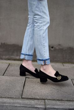 Gucci Suede Mid Heel Pump (Shot From The Street)