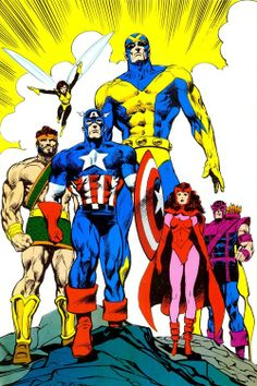 Marvel: Classic Avengers by Mark Texeira: Hercules, Wasp, Goliath, Captain America, Scarlet Witch, and Hawkeye.