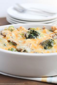 This healthy casserole is filled with chicken, broccoli and mushrooms in a light & creamy sauce. Your family will love it!