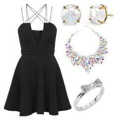 """Little Black Dress"" by beautyqueen13-1 ❤ liked on Polyvore featuring Rare London, Irene Neuwirth and Kate Spade"