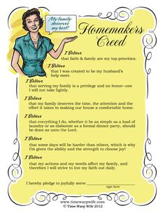 The Homemakers Creed - Free Printable! - Time-Warp Wife | Time-Warp Wife