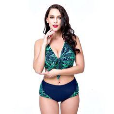 18.10$  Watch now - Strappy Swimwear Vintage Beachwear Padded Bra Swimsuits Tankini Set Women 2017 Plus Size Bikinis Set Biquini Hot Sale  #aliexpressideas