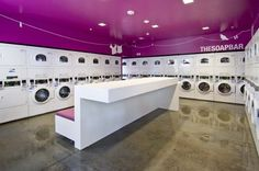 Avonite solid surface: University laundromat seating and Pink Laundry Rooms, Laundry Shop, Coin Laundry, Laundry Room Signs, Laundromat Business, Laundry Business, Self Service Laundry, Pressing, Solid Surface Countertops