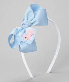 Love this White & Blue Bunny Bow Headband by Emily Lacey on #zulily! #zulilyfinds