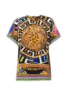 Versace Gianni, Medusa And Leopard Print Silk Top, Original, Half Price