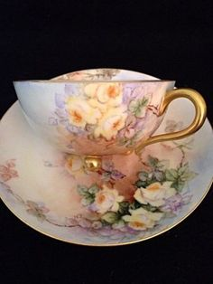Six-Sets-Of-Haviland-Handpainted-Tri-Foot-Limoges-Flowers-Tea-Cups-Cup-Saucers