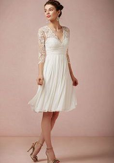 Knee Length V Neck Sheath/ Column Chiffon With Lace Destination Wedding Dress - 1300103396B - US$219.99 - BellasDress