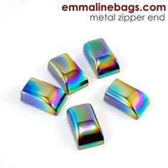 Zipper Ends or Cord Ends: in Iridescent Rainbow - 5 Pack