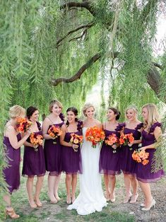 purple and orange for the bridesmaids