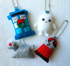 Doctor Who Ornament/Keychain Charm Set  OOAK by michellecoffee, $40.00