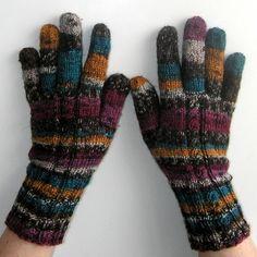 Rukavice pletené - Vřesoviště oranžová hnědá vínová rukavice režná vřes rukavičky petrol prstové ivka