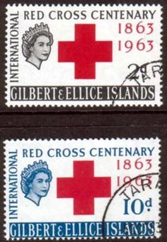 Gilbert and Ellice Islands 1963 Red Cross Centenary Fine Mint SG 80 1 Scott 77 78 Other British Commonwealth Empire and Colonial stamps for sale Here George Town, King George, Vintage Stamps, Vintage Postcards, British Guiana, Buy Stamps, Centenario, Picture Cards, Red Cross