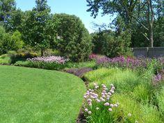 A garden designed and installed by Northwind Perennial Farm, Burlington, WI. Photo by Roy Diblik. Landscape Architecture, Landscape Design, Garden Design, Farm Photo, Lake Geneva, Landscaping Plants, Green Grass, Ponds, Perennials