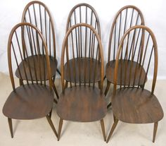 Ercol Highback Spindle Dining Chairs