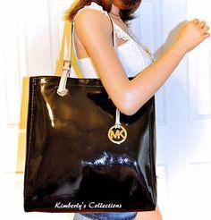 MICHAEL KORS Jet Set Black Patent Leather Shoulder Tote Bag Purse NWT   | eBay