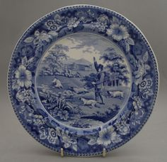 Antique Staffordshire Pottery Pearlware Blue Transfer Gamekeeper Plate 1825