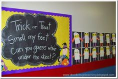 Trick or treat, Smell my feet, Can you guess who's under the sheet?  (A photo of each child!)  LOVE IT! #halloween