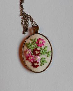 Flower Bouquet Necklace Fabric Jewelry Handmade by RedWorkStitches