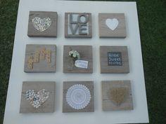 Een 9 luik gemaakt.Houten vierkanten(steigerhout)met daarop verschillende materialen en technieken die samen 1 vormen op een houten wit geschilderd paneel.