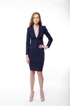 AGB Two Button Suit Jacket & Button Detail Flounced Skirt - Womens ...