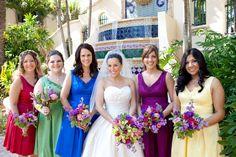 colored bridesmaid dresses http://www.stylemepretty.com/florida-weddings/2011/12/19/south-palm-beach-wedding-by-j-morgan-flowers/