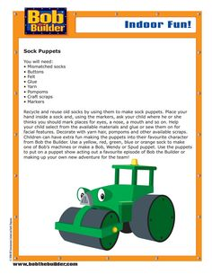 Discover all the machines from Fixham and Spring City! Bob the Builder fans can learn about all their favourite characters from the Bob the Builder TV series. Felt Glue, Spring City, Sock Puppets, Bob The Builder, Activities, How To Make, Fun, Crafts, Diy Welder