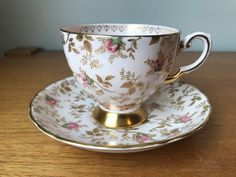 e81473ceb8 Tuscan China Tea Cup and Saucer, Fancy Gold Chintz and Pink Rose Teacup and  Saucer