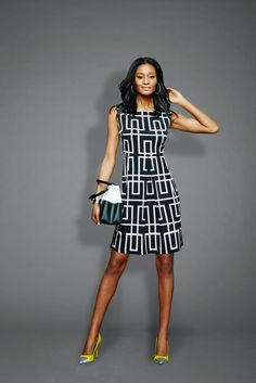 Oh!!!! ..... And with those shoes!!!! L️VE! ..... The Geo-Print Sleeveless Pleated Dress